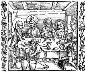 """Dürer - Bruiloft te Kana. Uit """"De ridder van Turn' van Geoffrey de la Tour-Landrys ."""